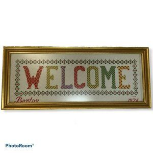 """VTG 70s """"Welcome"""" Home Farmhouse Chic Cross Stitch"""
